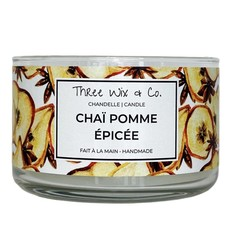 Three Wix & Co. Chandelle à trois mèches - Chaï pomme épicée