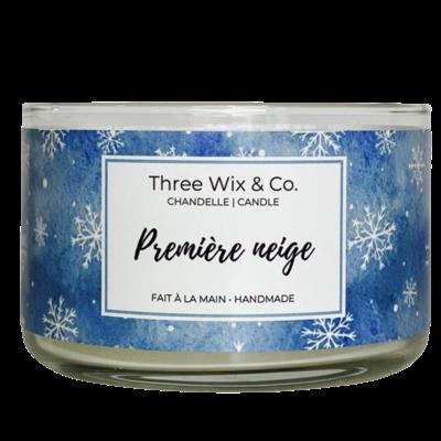Three Wix & Co. Chandelle à trois mèches - Première neige