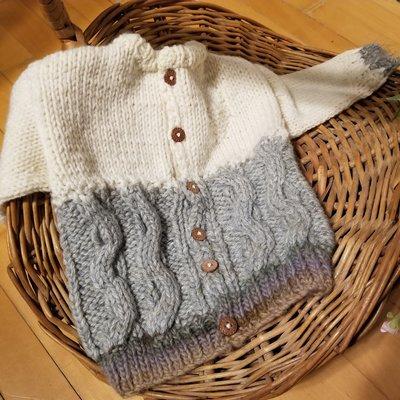 Madame Tricot Chandail en tricot pour enfant - Crème et gris