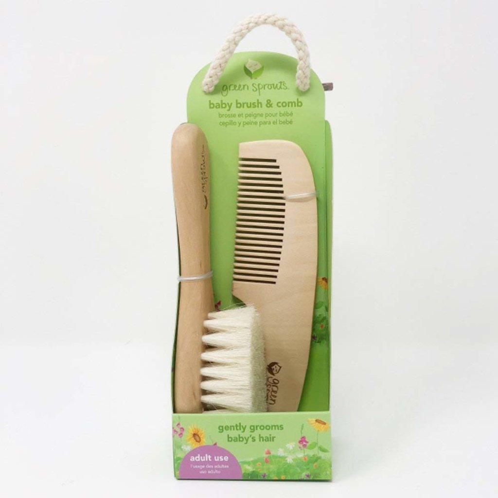 Brosse à cheveux et peigne pour bébé en bois