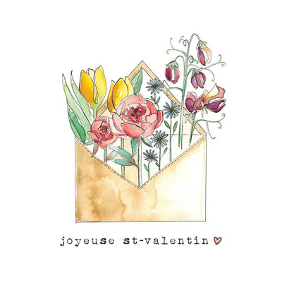 Stéphanie Renière Carte - Enveloppe fleurie // Joyeuse St-Valentin