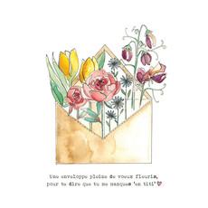 "Stéphanie Renière Carte - Enveloppe fleurie // Tu me manques ""en titi"""