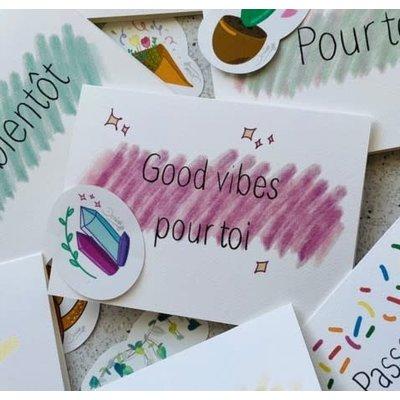 Kit de Survie Carte + Autocollant - Good vibes pour toi