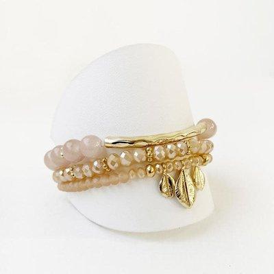 Caracol Ensemble de 3 bracelets billes de verres et breloques