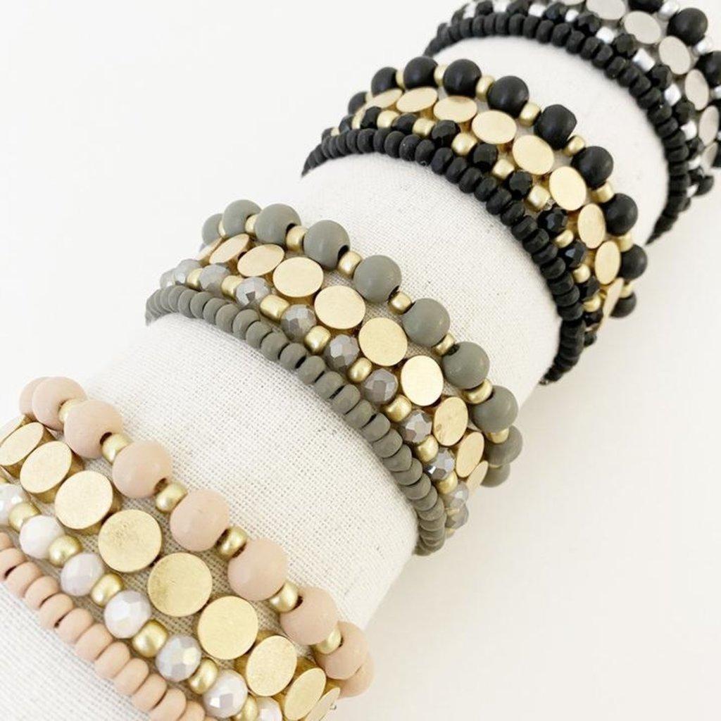 Caracol Ensemble de 4 bracelets avec billes de bois et métal