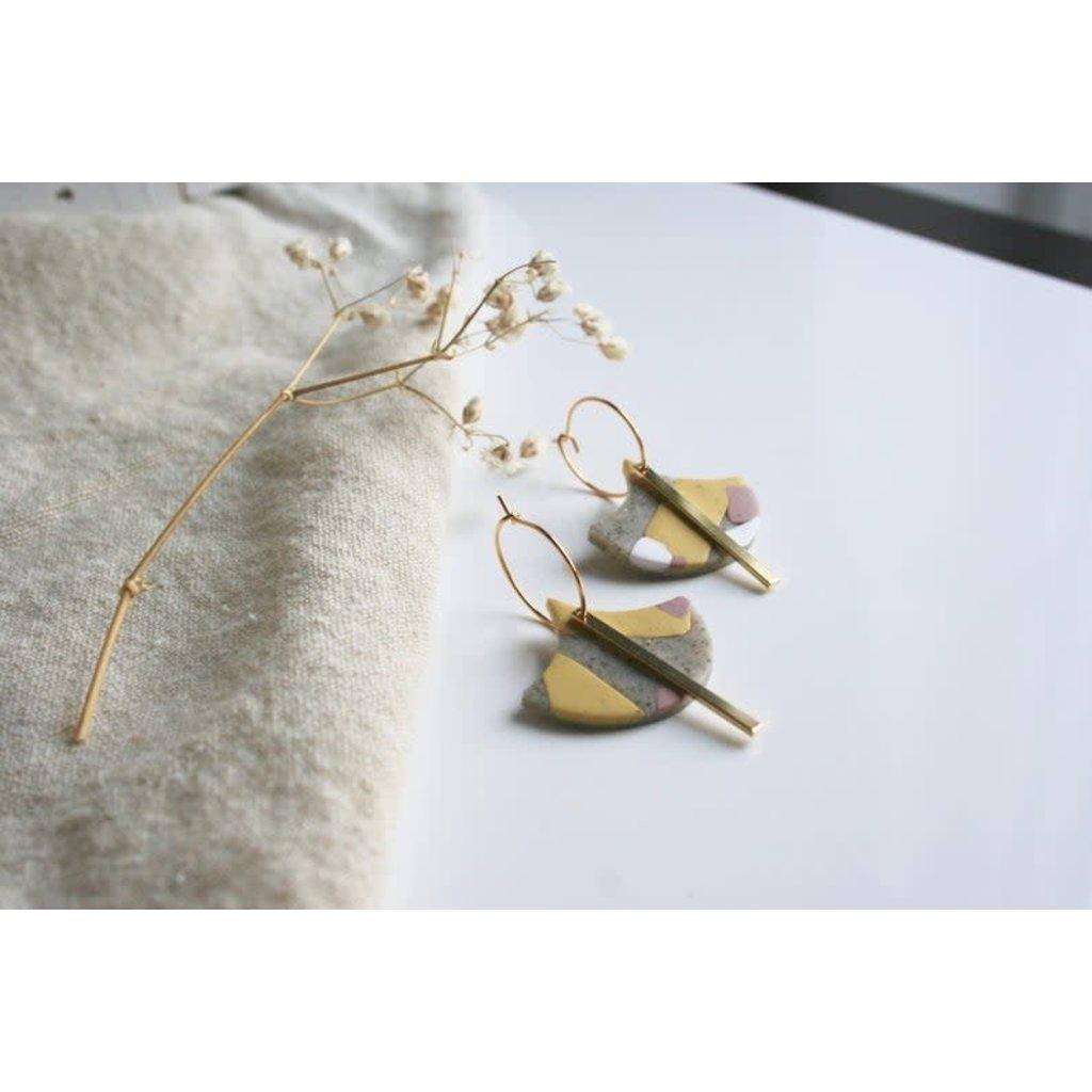 Boucle d'or Boucles d'oreilles - Argile polymère texturée et tige or