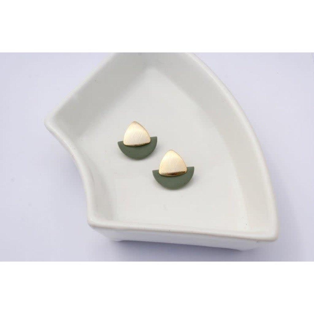 Boucle d'or Boucles d'oreilles - Demi-lune verte et triangle or