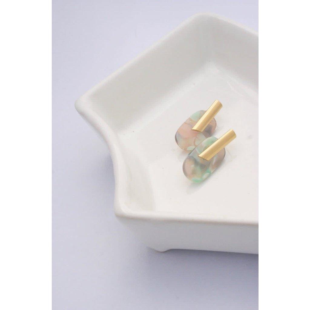 Boucle d'or Boucles d'oreilles ovales en acrylique et tige