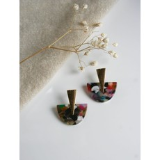 Boucle d'or Boucles d'oreilles - Demi-lunes colorées et pique or