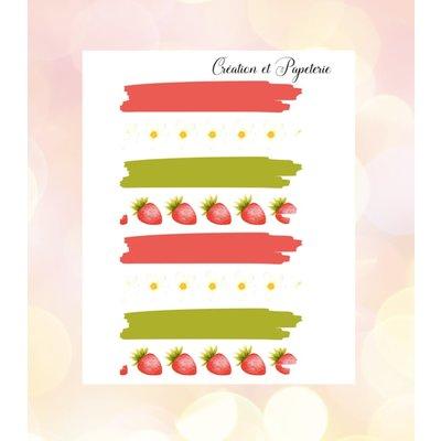 Création et Papeterie Autocollants - Washi tape fraises