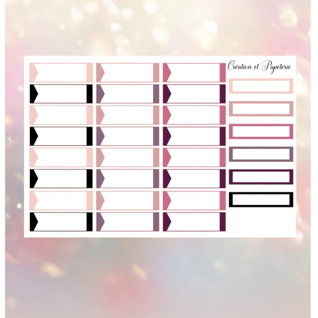 Création et Papeterie Autocollants - Cases à remplir blush