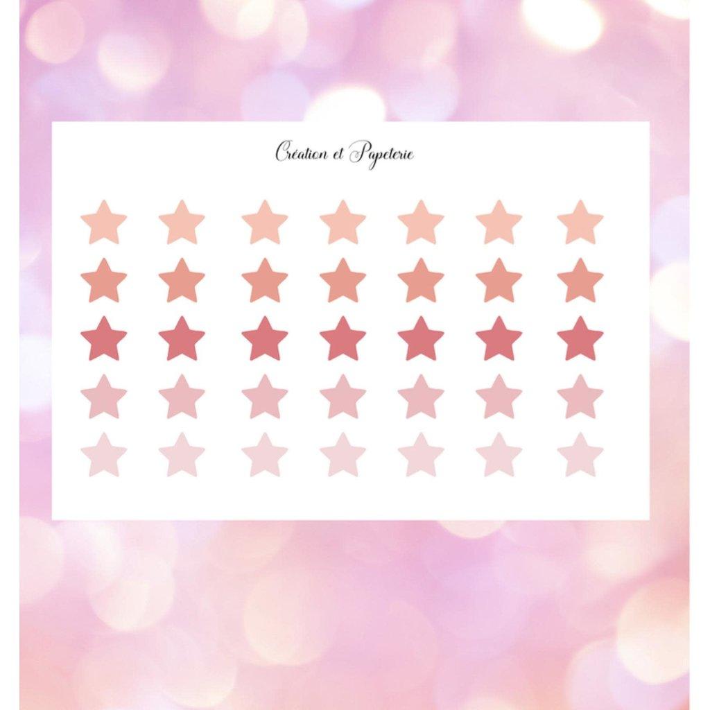 Création et Papeterie Autocollants - Étoiles roses