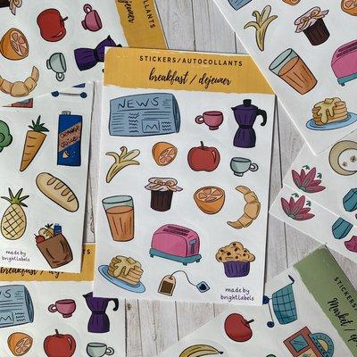 Bright Labels Autocollants - Déjeuner