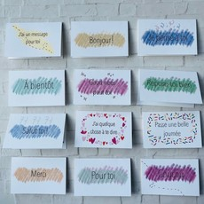 Kit de Survie Coffret de 12 mini cartes + autocollants - Petits mots