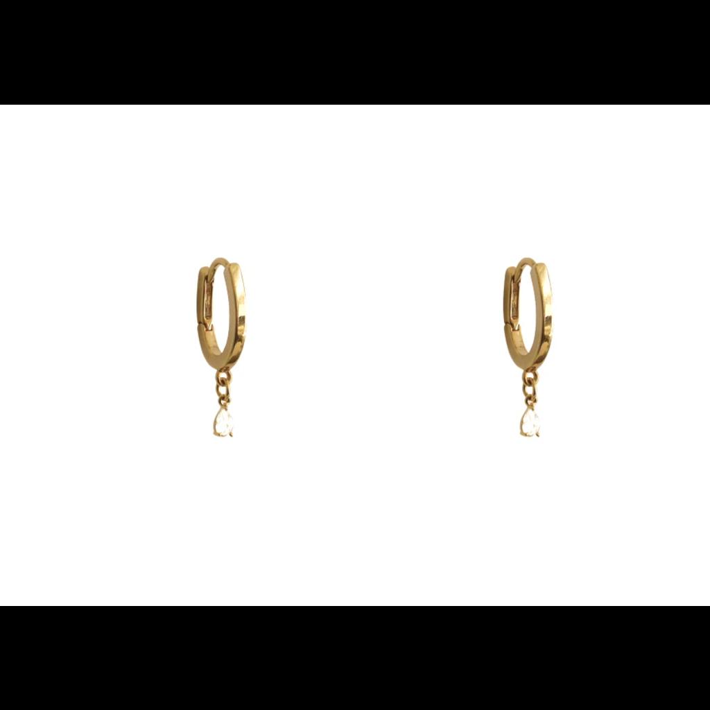 Lost & Faune Boucles d'oreilles mini or - Pierre du rhin
