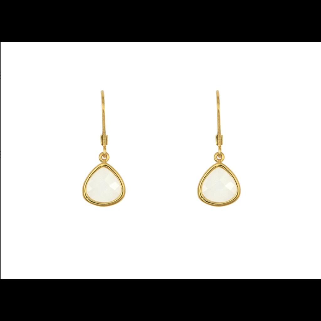Lost & Faune Boucles d'oreilles - Gouttes de verre nacre blanc