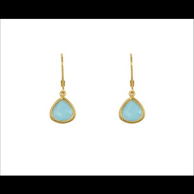Lost & Faune Boucles d'oreilles - Gouttes de verre turquoise