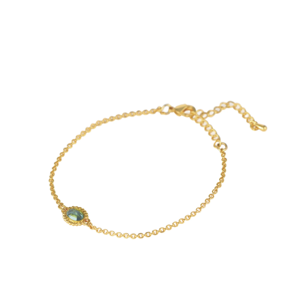 Lost & Faune Bracelet or - Pierre ovale turquoise