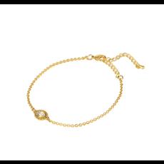 Lost & Faune Bracelet or - Pierre ovale cristal