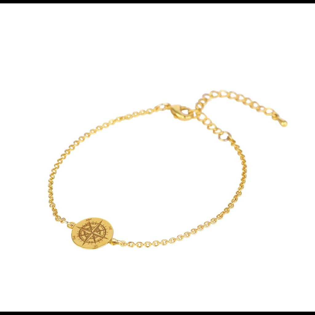 Lost & Faune Bracelet or - Boussole gravée