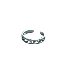 Lost & Faune Bague ajustable - Triangles multiples argent