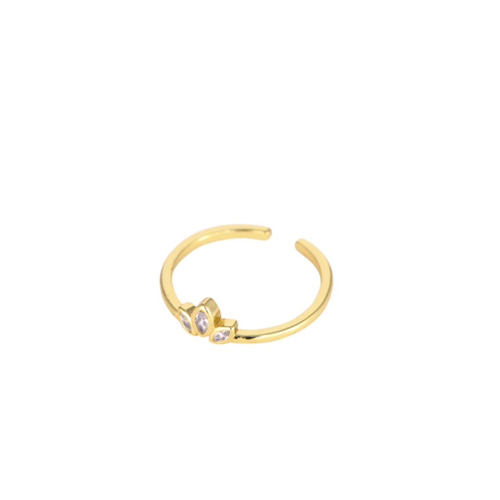 Lost & Faune Bague marquise or - Pierre du rhin