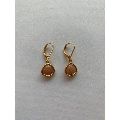 Lost & Faune Boucles d'oreilles - Gouttes de verre pêche