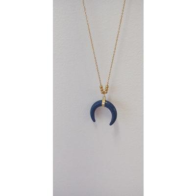 La Main Bleue Collier quartier de lune en pierre - Lapi Lazuli