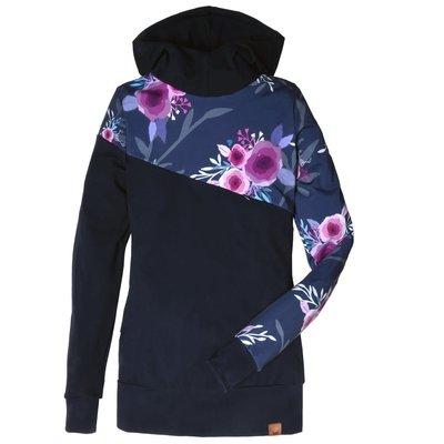 Nine Clothing Hoodie 3 en 1 (maternité, allaitement et postpartum) - Fleurs mauves et marines