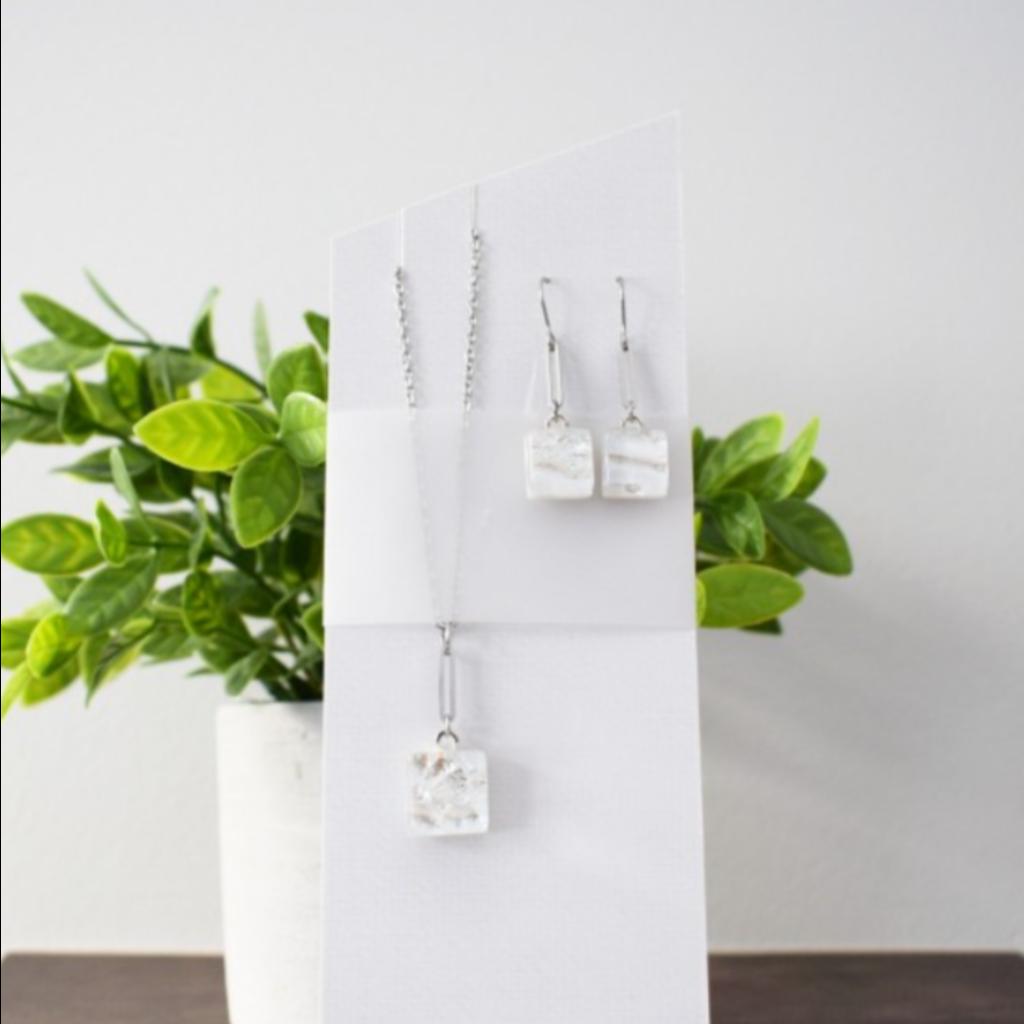 DUO verre fusion Ensemble collier- Boucles d'oreilles blanc glace