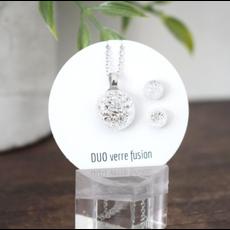 DUO verre fusion Esemble collier - Boucles d'oreilles brillant blanc