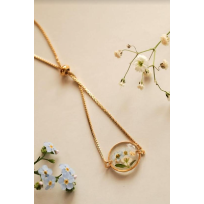 Lilimoon Atelier Bracelet de fleurs séchées en or plaqué D