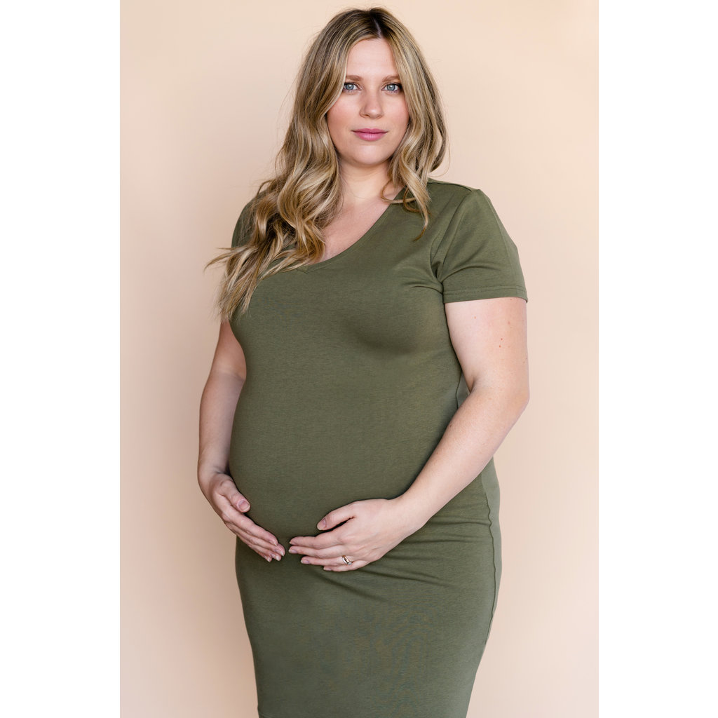 Rose Maternité Robe Intrigue col en v - Vert Kaki