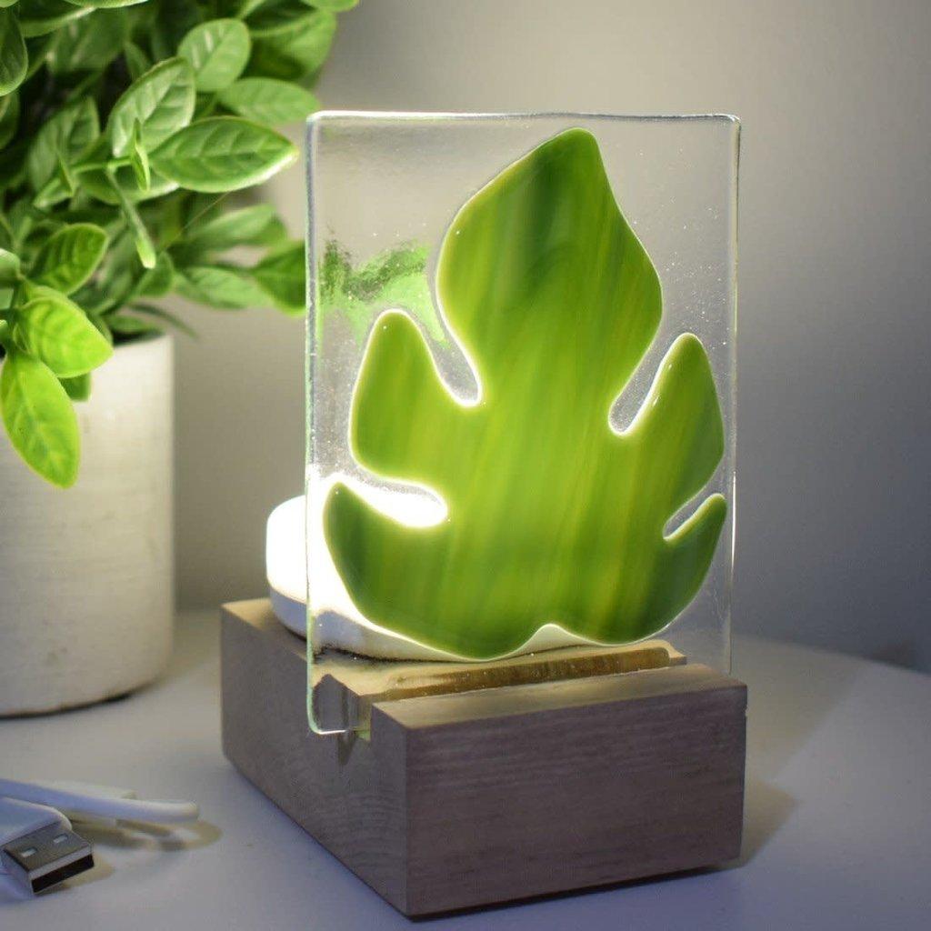 DUO verre fusion Veilleuse - Feuille tropicale