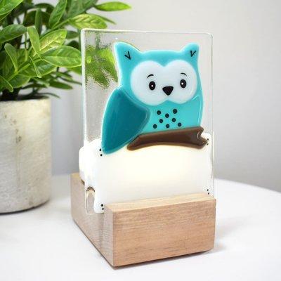 DUO verre fusion Veilleuse - Hibou turquoise