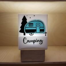 DUO verre fusion Veilleuse - Camping bleu