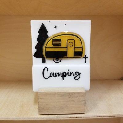DUO verre fusion Veilleuse - Camping jaune