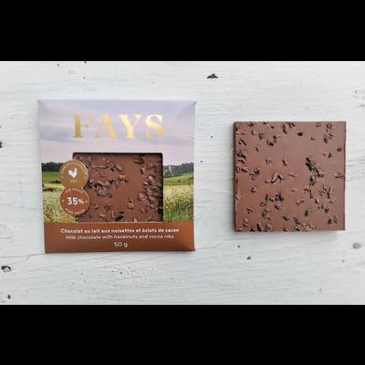 FAYS Terroir Chocolaté Petite tablette de chocolat au lait aux noisettes et éclats de cacao