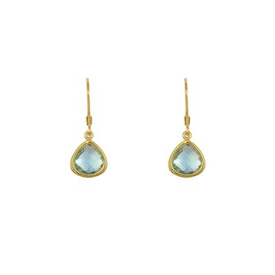 Lost & Faune Boucles d'oreilles - Gouttes de verre turquoise translucide