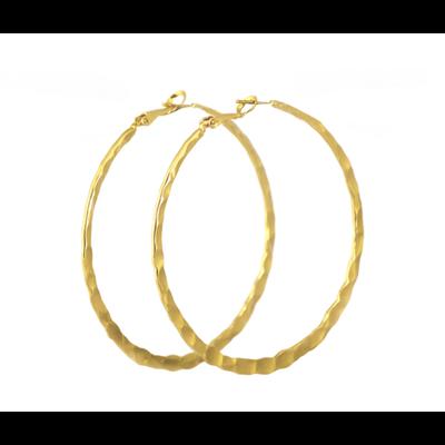 Lost & Faune Boucles d'oreilles - Grand anneaux martelées or