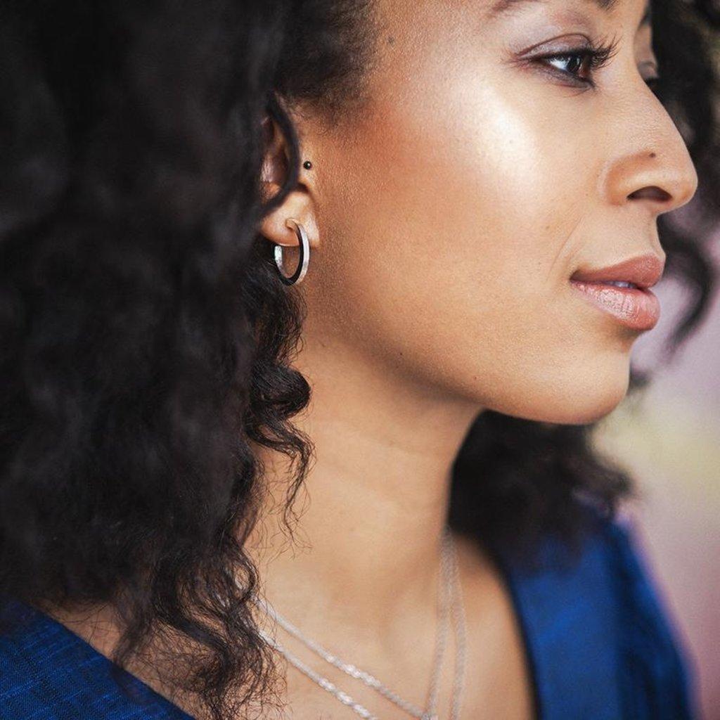 Lost & Faune Boucles d'oreilles - Anneaux argent rayures