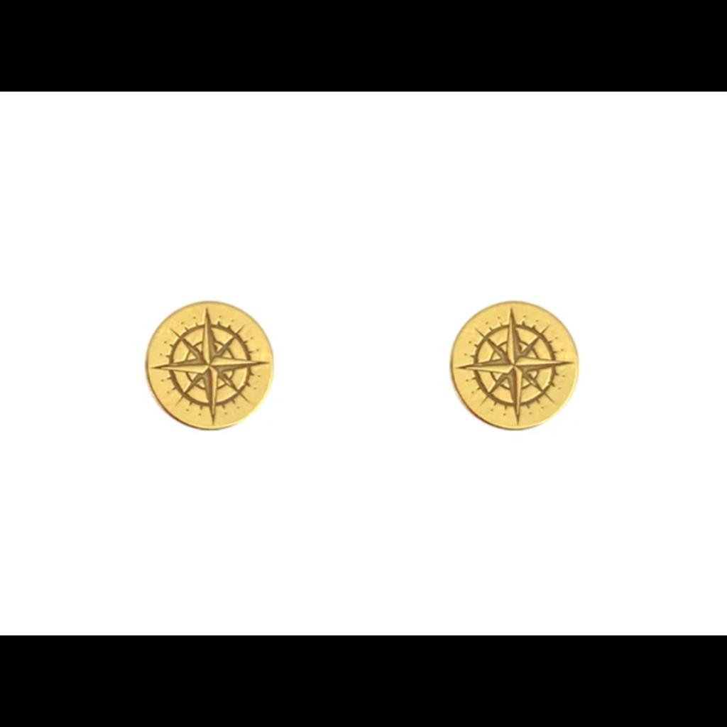 Lost & Faune Boucles d'oreilles à tiges - Boussoles or