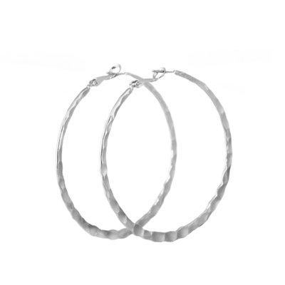 Lost & Faune Boucles d'oreilles - Grand anneaux martelées argent