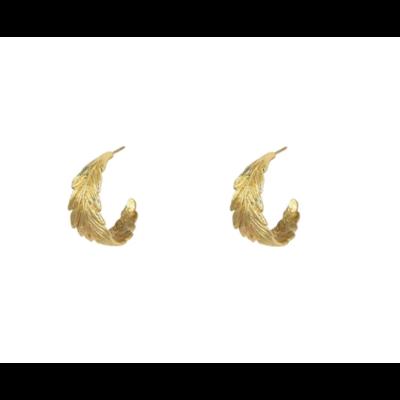 Lost & Faune Boucles d'oreilles - Anneaux de plumes or