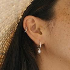 Twenty Compass Boucles d'oreilles - Pearl Argent Sterling