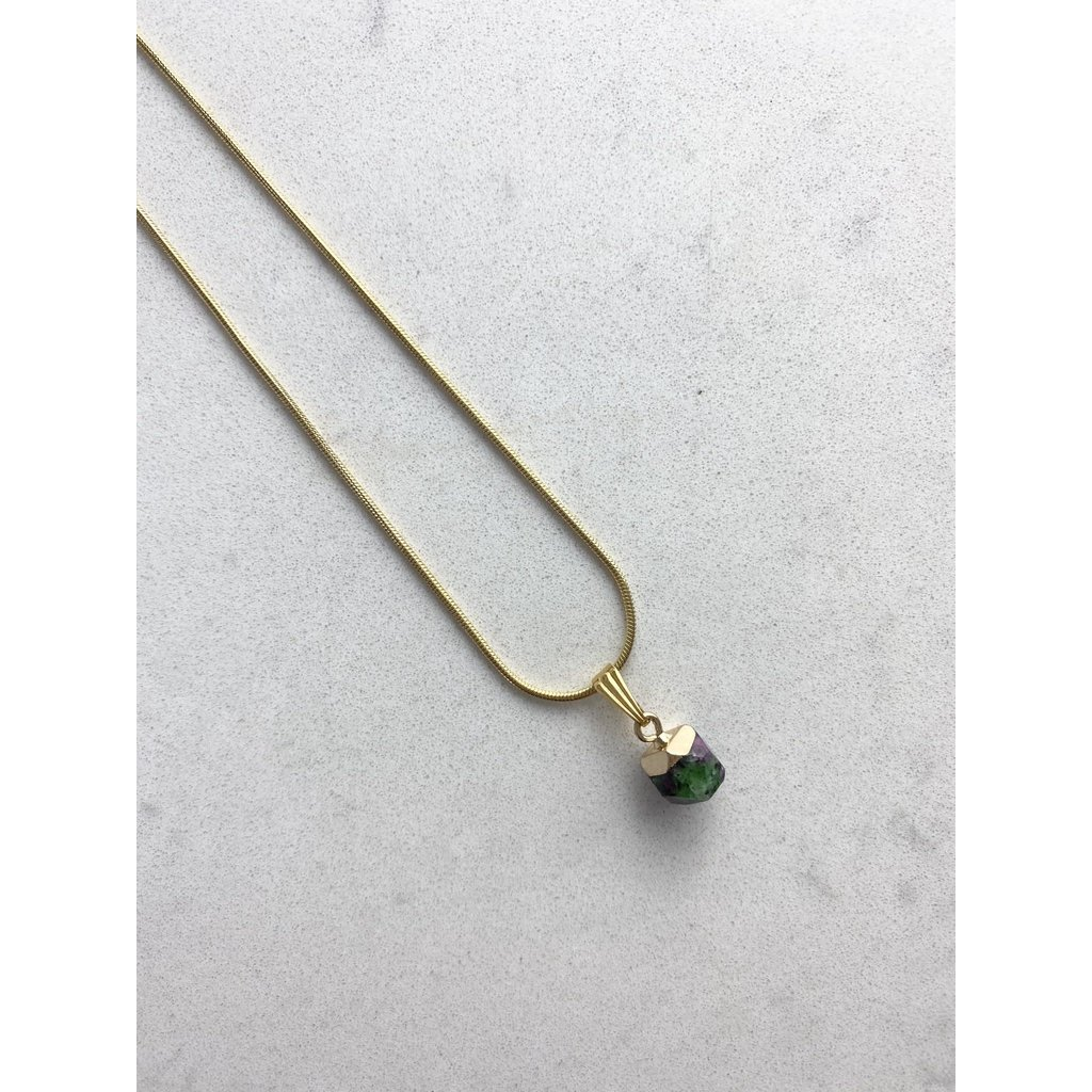Malalilas Collier or - Rubis Zoïsite Brut