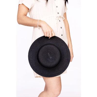 Rose Maternité Chapeau plat - Noir