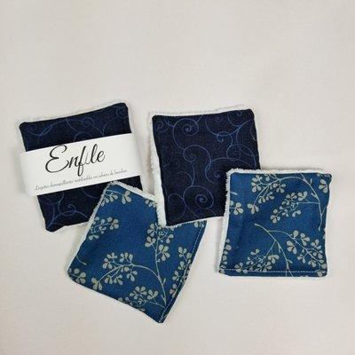 Enfile Lingettes démaquillantes en velours de bambou - Motifs bleus