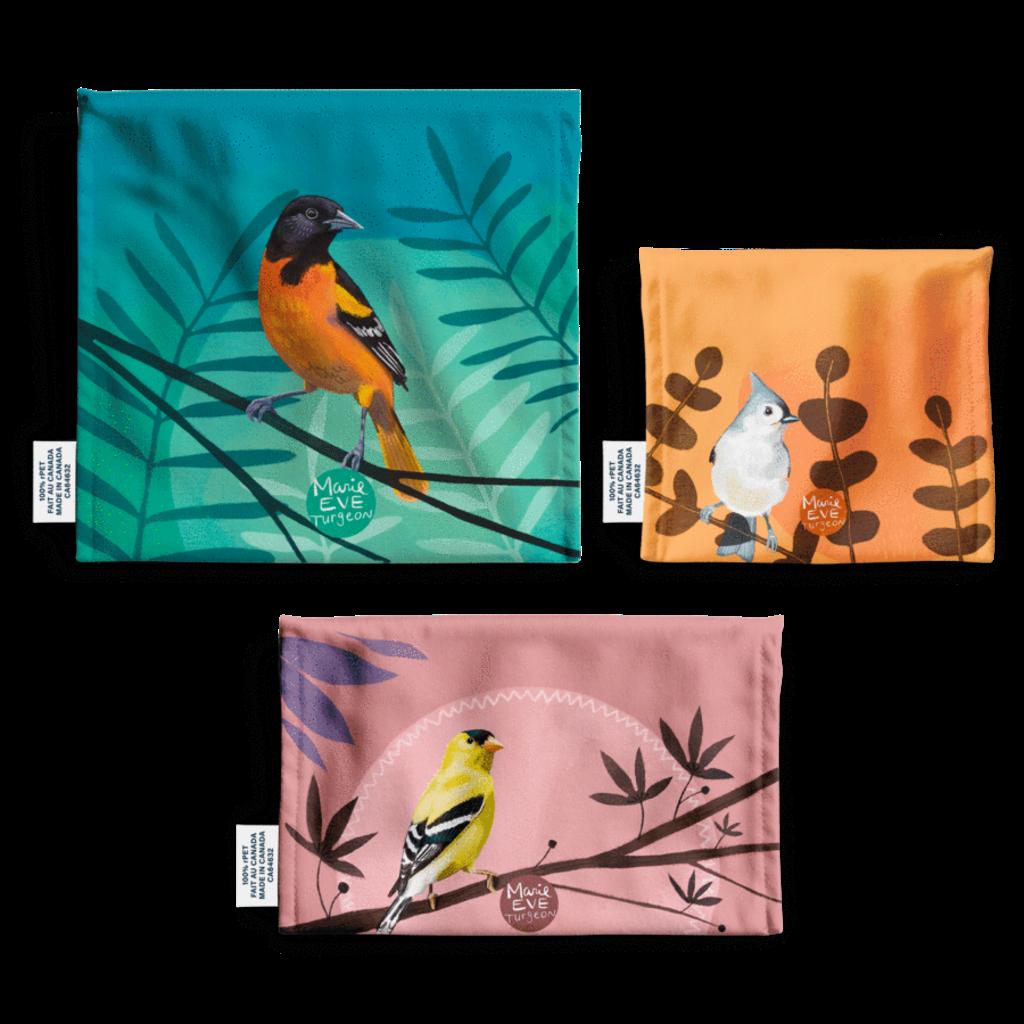 DemainDemain Trio de sacs réutilisables - Oiseaux par Marie-Ève Turgeon