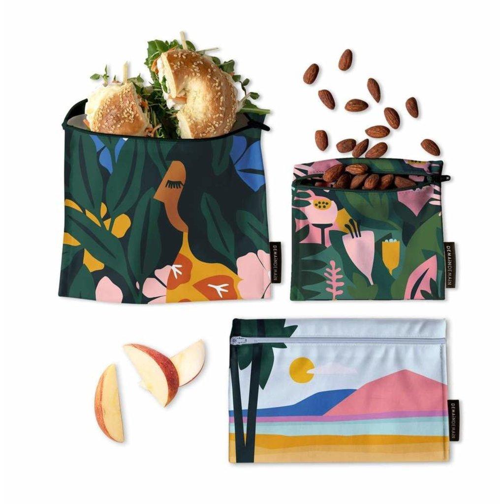 DemainDemain Trio de sacs réutilisables - Tropical Floral par Myriam Van Neste